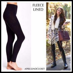 BLACK FLEECE LINED LEGGINGS COZY KNIT FOOTLESS TIGHTS A2C